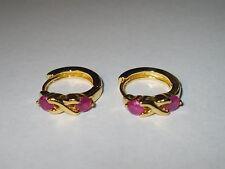 New 18k Gold Plated 2 Brilliant Cut Synthetic Lab Created Ruby Gemstone Earings