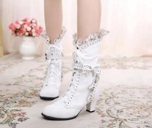 Vintage-Women-Lolita-Cosplay-Cute-Lace-Bowknot-High-Heel-Mid-calf-Boots-Sz-G638