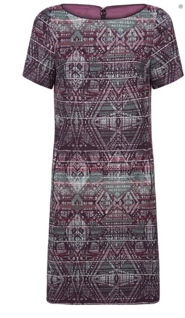 Monsoon Inca Green Mix T shirt Dress Size 20 Bnwt Multi Coloured