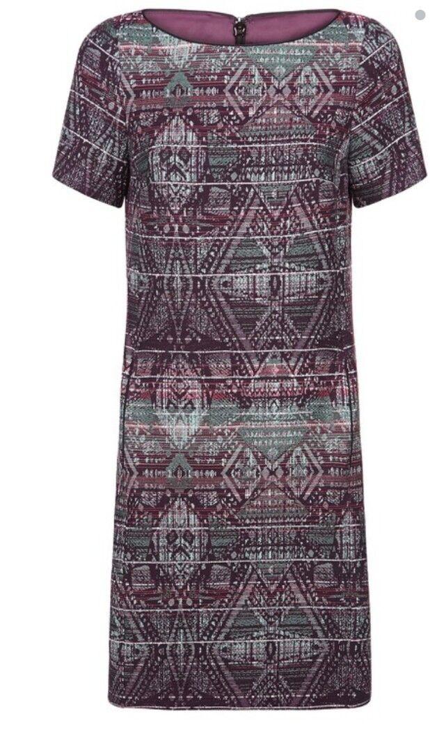 Monsoon Inca Green Mix T shirt Dress Size 20 Bnwt Multi Coloured