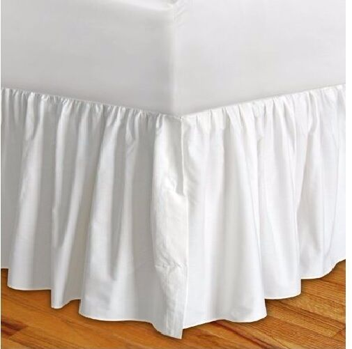 Solid White Dust Ruffle SPLIT Corner Bed Skirt All Size Drop 650 TC Cotton New