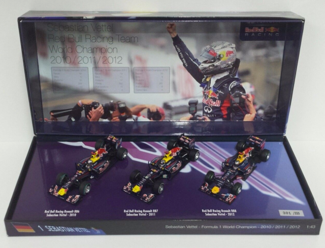 Minichamps 1/43 Vettel Set 3 Times World Champion F1 Red Bull 2010 2011 2012 New