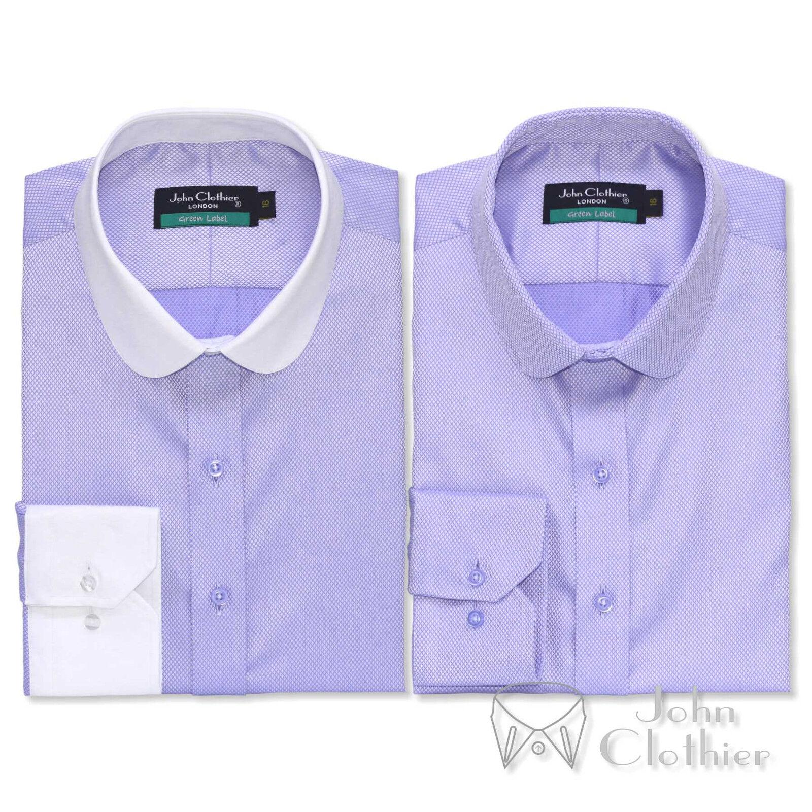Herren Cotton Penny collar shirt Lilac lila diamond dobby Club collar Gent Round
