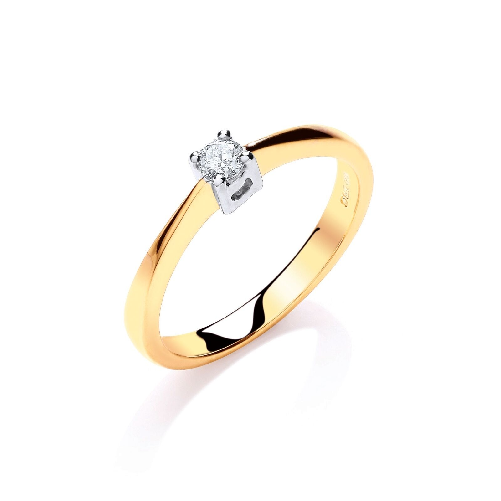 9ct Yellow gold Solitaire Diamond Ring 0.10ct