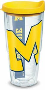 Michigan-Wolverines-Tumbler-Tervis-24-ounce-NCAA-Clear-w-Wrap-Yellow-Lid