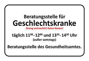 Beratungsstelle-Geschlechtskrank-Blechschild-Schild-Tin-Sign-20-x-30-cm-SM0118-X