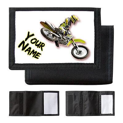 Brioso Personalizzata Giallo Motocross Bike-ragazzi/uomo Portafoglio/borsa-regalo Con Nome-mostra Il Titolo Originale Saldi Estivi Speciali