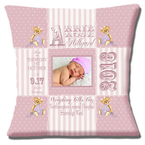 PERSONALISED-BIRTH-Name-Date-Time-Weight-PHOTO-Teddy-16-034-Pillow-Cushion-Cover