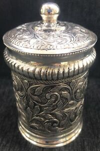 925-Sterling-Silver-Hand-Chased-Round-Cylindrical-Box-Container-Repousse-Gift