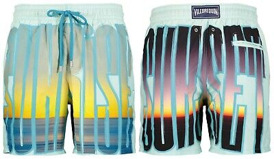 "Authentic Vilebrequin Moorea Green Sunset Sunrise Swim Shorts. Xl. Waist 34"" Ein BrüLlender Handel"