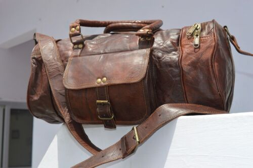 Large Men/'s Leather Vintage Duffle Luggage Weekend Gym Carry on Travel Bag NEW