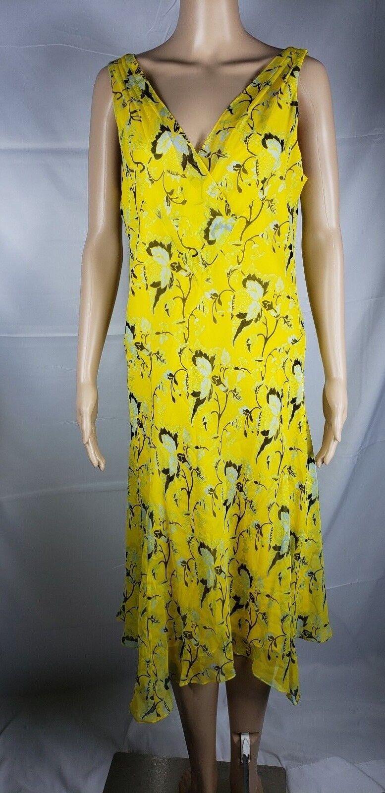 Nuevo con etiquetas  Diane von Furstenberg Crojover cuello en V Floral Vestido De Seda Amarillo Talla 12  mejor oferta