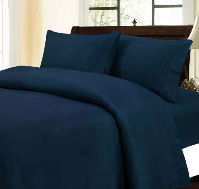 1200 Thread Count 100% Egyptian Cotton Bed Sheet Set 1200 TC TWIN XL Navy  Solid