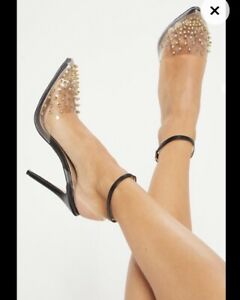 PRETTY LITTLE THING BLACK STUDDED SPIKE