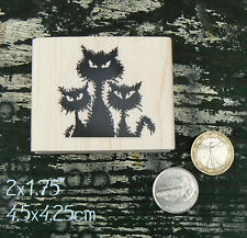 3 angry wet cats silhouette rubber stamp WM P64
