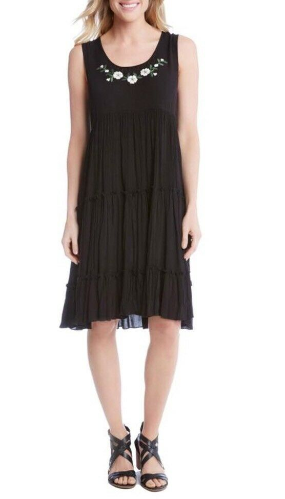 Karen Kane Embroidered Tiered A-Line Dress. Size S.