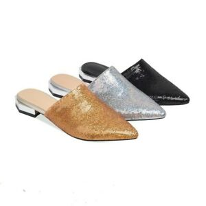 Summer Womens Cow Leather Slip on Flat Mules Slippers Slingback Shoe Rhinestones