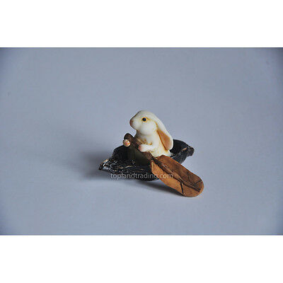 Miniature Garden Bunny Rabbit Rowing Boat TO 4033 Dollhouse /Fairy Hobbit