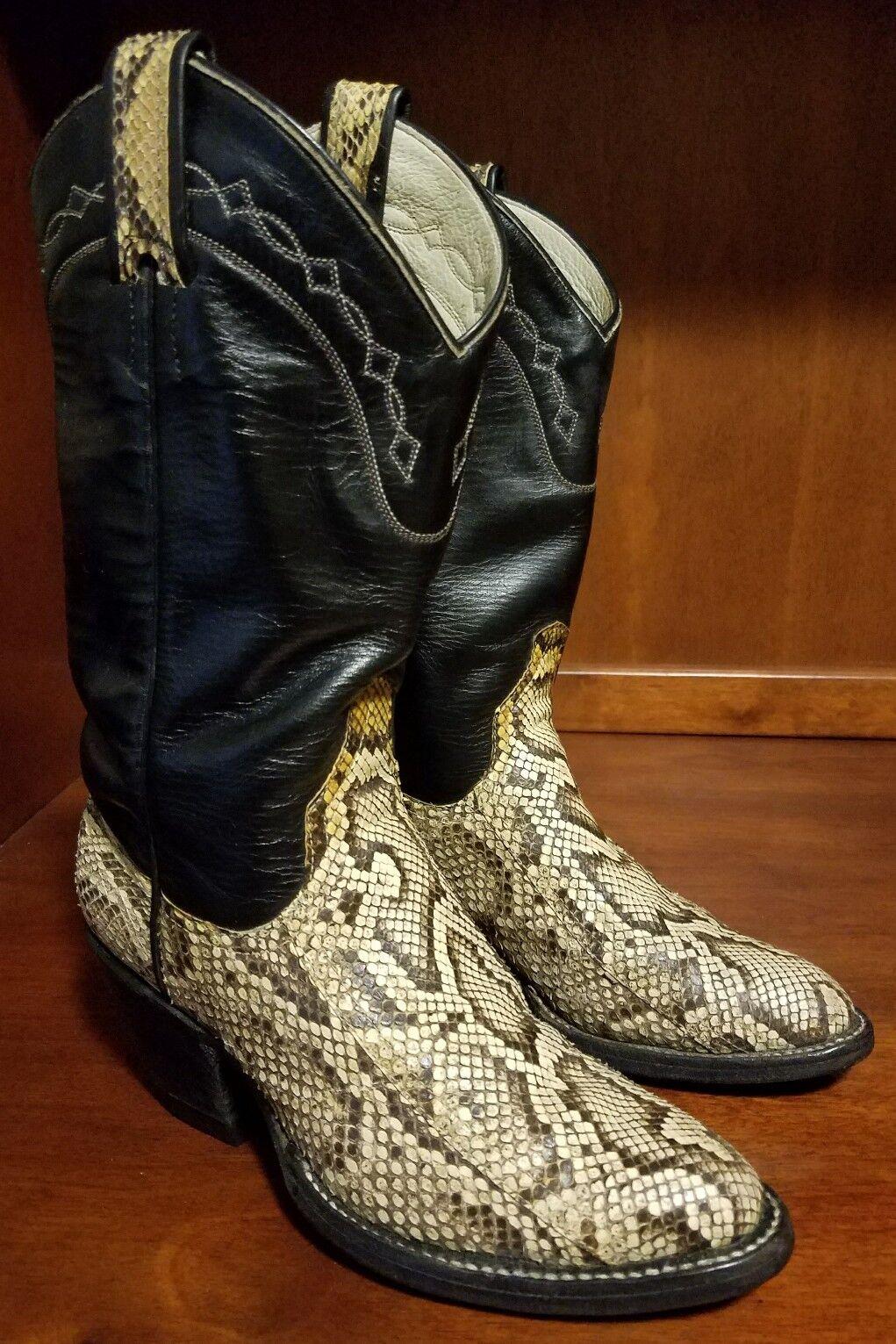 marchio famoso Larry Mahan donna avvio Collection Collection Collection Natural Python Snake Skin Dimensione 5 B Vintage  offerta speciale