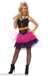 OP-596-Ladies-Costume-Fancy-Dress-1980-039-s-80-039-s-Madonna-Pop-Diva-Sz-6-8-10-12-14