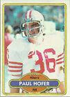 1980 Topps Paul Hofer #178 Football Card