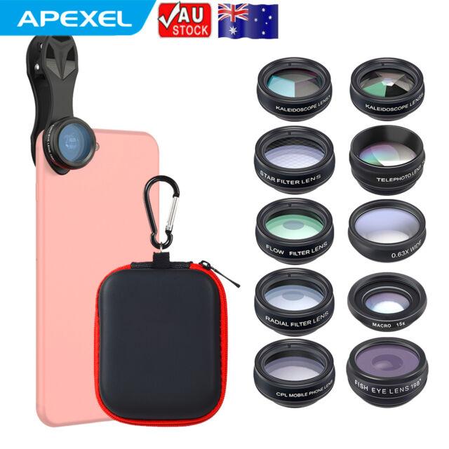 10 in 1 APEXEL Camera Lens Kit Fisheye Wide Angle Macro Telescope for iphone