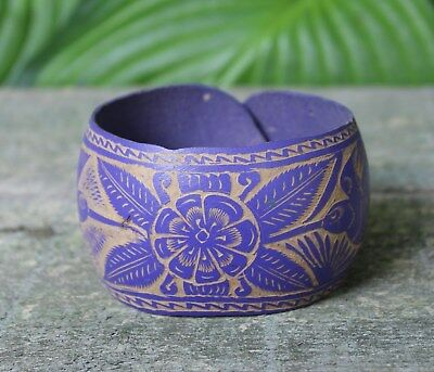 Purple Hummingbird Bracelet Hand Carved Gourd Folk Art Oaxaca Mexico Hippie Boho