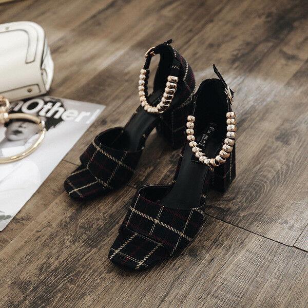 Sandali donna ciabatte tacco quadrato nero nero nero  eleganti  tacco 7.5 cm comodi 9779 002a9f