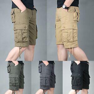 Men-039-s-Knee-Length-Shorts-Multi-Pocket-Cargo-Pants-Combat-Trousers-Camouflage-New