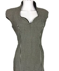 Rinascimento-Size-M-Houndstooth-Fitted-Pencil-Line-Dress-Made-Italy-Midi-Lgth