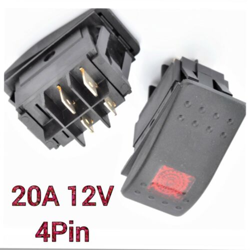 3Pcs 4 Pin Waterproof 12V 20A Bar Rocker Toggle Switch LED Light Car Boat