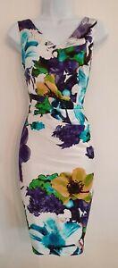 Para-mujer-Coast-Blanco-Floral-se-reunieron-Drapeado-Elastizado-Cenido-Al-cuerpo-Sin-mangas-10