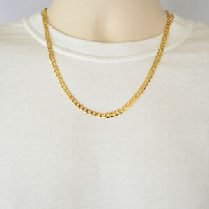 73960a3e97847 Details about 24K Yellow Gold Plated Curb Chain 5mm Cuban Style Link Men's  Necklace 22 Inches