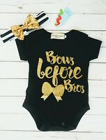 Baby Girls 3-6m Long Sleeve Onesie Headband Set Bows Before Bros Funny Shirt