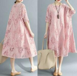 Details About Sweet Ladies Lace Dress Underdress Two Piece Dress Loose Fit Robe Gown 12 Sleev