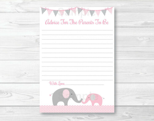 Pink Elephant Chevron Printable Baby Shower Mommy Advice Cards