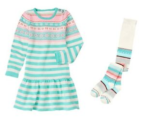 Nwt gymboree snowflake glamour fair isle sweater dress tight outfit