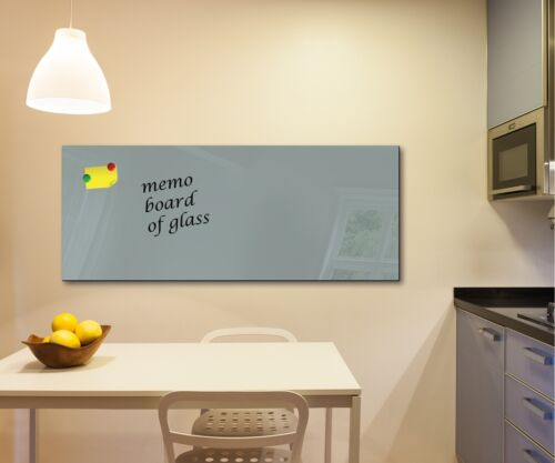 Glass Memo Board Magnetic Heat Resistant Toughened Glass 125cm x 50cm Gray