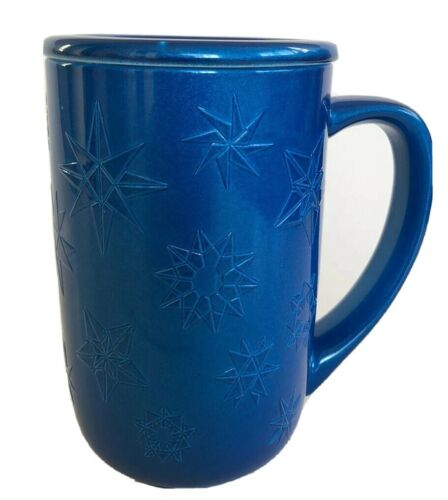 Davids Tea Nordic Mug with lid Embossed Snowflake Lapis 16 oz// 473 ml