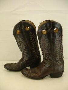 34958028c70 Mens 10 B VTG TONY LAMA 6218 Buckaroo CHOCOLATE CARIBOU Cowboy Boots ...