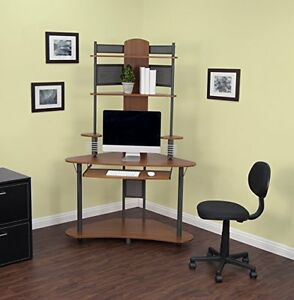 Details about Small Corner Computer Desk Tower Hutch Wood Storage Shelves  Student Home Office