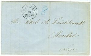 SWEDEN/NORWAY: Cover from Härnösand to Norway 1865.