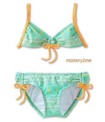O/'Neill Girls 7 Fiji Tie Front 2 Pc Halter Bikini Swimsuit Green Orange