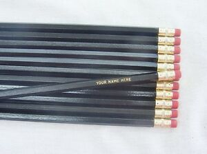 12 HEXAGON Asst NEON Personalized Pencils w// BLACK text