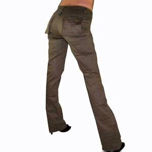 32 34 38 Braun Neue Mode Damen Jeans Jeanshose Hose Lang Cargo Style Knopf Reißverschl Kleidung & Accessoires