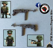 2x MP40 PLASTICO *HAY 30* ALEMANIA GUERA MUNDIAL GERMAN WW2 MACHINEGUN PLAYMOBIL