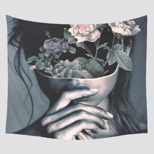 Portrait Visage Femmes Tapisserie Tentures Art Home Decor cuite bohème