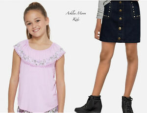 NWT JUSTICE Girls 14 Lavender Peasant Top & Studded Denim Skirt Outfit