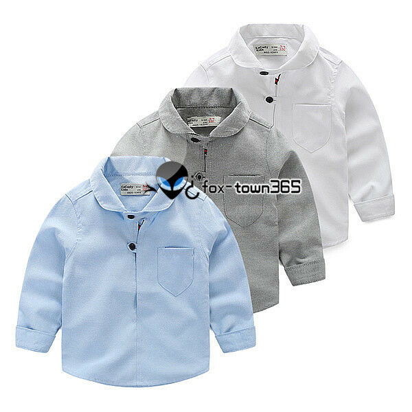 Spring Autumn Child Baby Kids Boy Two Black Button Neck Pure Color Shirt 2-8Y