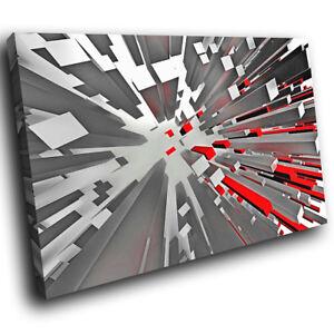 ZAB1154-Rojo-Negro-Gris-Moderno-retro-de-Lona-Impresiones-de-fotos-de-arte-abstracto-de